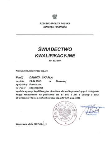 Danuta Skarła - Świadectwo Kwalifikacyjne<br/>  Wydany przez Ministerstwo Finansów
