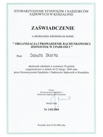 Danuta Skarła - Zaświadczenie <br/> Wydane przez Stowarzyszenie Syndyków