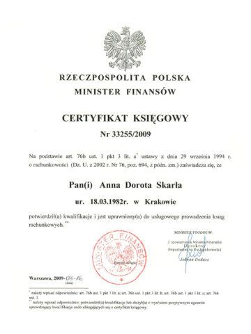 Anna Skarła - Certyfikat Księgowy<br/>  Wydany przez Ministerstwo Finansów