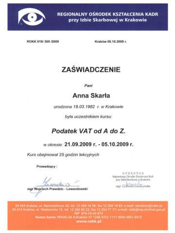 Anna Skarła - Zaświadczenie<br/> Wydany przez Regionalny Ośrodek Kształcenia Kadr